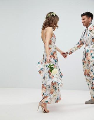ASOS DESIGN ruffle hem pinny bodice maxi dress in pretty floral print