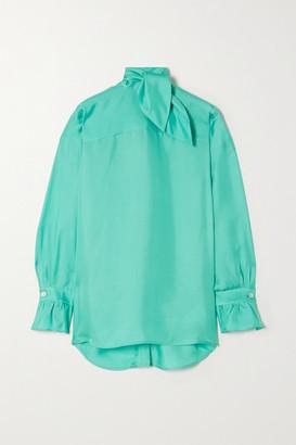 Victoria Victoria Beckham Tie-neck Silk-twill Blouse - Turquoise