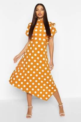 boohoo High Neck Ruffle Front Polka Dot Midi Dress