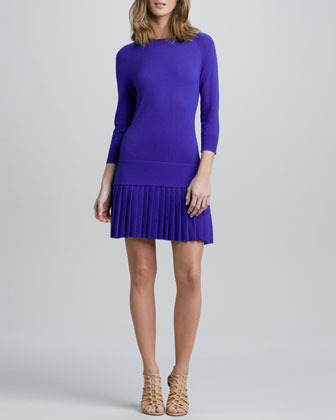 Shoshanna Pleated Drop-Waist Knit Dress