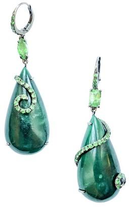 Sharon Khazzam 18K White Gold, Green Quartz & Tsavorite Teardrop Earrings