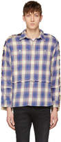 R 13 Blue and Off-White Plaid Mended Shirt
