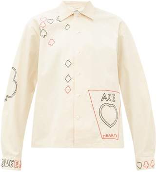 BEIGE Bode - Playing Card-embroidered Cotton Shirt - Womens
