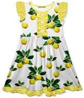Millie Loves Lily Girls' Casual Dresses Lemon - White & Yellow Polka Dot Lemon Button-Front Angel-Sleeve Dress - Toddler & Girls