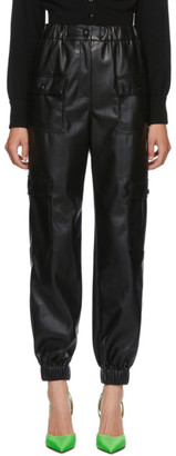 MSGM Black Faux-Leather Cargo Trousers