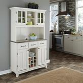 Home Styles Three-Drawer 44 in. W White Buffet with Stainless Top and Hutch