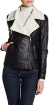 Cupcakes And Cashmere Faux Leather and Shearling Zip Jacket