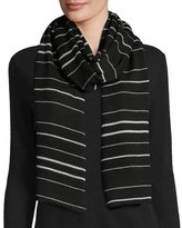 Eileen Fisher Merino Jersey Striped Scarf, Black/Dark Pearl