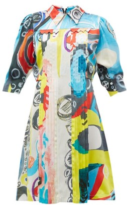 Charles Jeffrey Loverboy Pleated Silk Dress - Womens - Multi