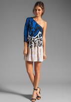 Tibi Jasmine Jersey One Shoulder Dress in Black/Ivory Multi