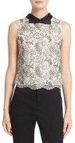 Alice + Olivia Women's Manie Bow Collar Embellished Crop Top
