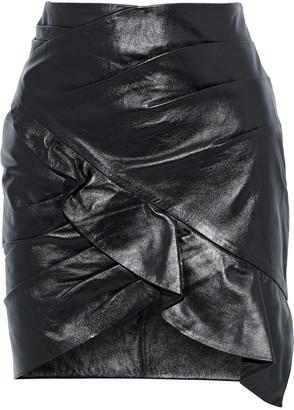 IRO Mhalana Wrap-effect Ruffled Leather Mini Skirt