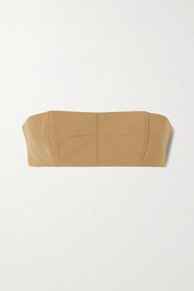 David Koma Cropped Wool-twill Bra Top - Sand
