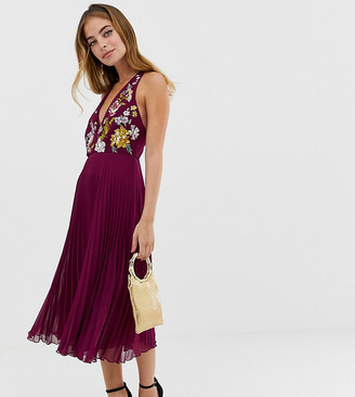 ASOS DESIGN Petite midi dress with pleat skirt and embroidered bodice