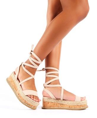 Public Desire Fresca Lace Up Sandal Faux Suede