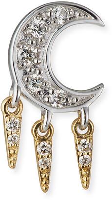 Sydney Evan 14k Diamond Crescent Moon Fringe Earring, Single, Right