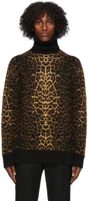 Saint Laurent Brown Wool and Mohair Leopard Turtleneck