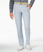 Bar III Light Blue Chambray Solid Cotton Slim-Fit Pants, Only at Macy's