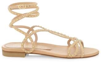 Stuart Weitzman Leya Flat Ankle-Wrap Studded Leather Sandals