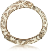 Roberto Cavalli Golden Brass and Ivory Enamel Snake Bangle w/Crystals