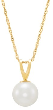 """Macy's Cultured Freshwater Pearl (6-1/2mm) 18"""" Pendant Necklace in 14k Gold"""