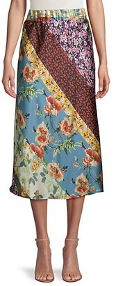 Cliche Floral Bias-Cut Satin Midi Skirt