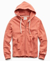 Todd Snyder + Champion Terry Full Zip Hoodie in Orange Russet