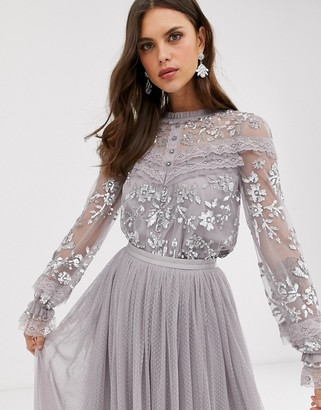 Needle & Thread embroidered blouse with button detail and sheer sleeves in grey