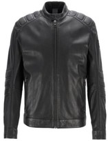 Boss Leather biker jacket with quilted panels