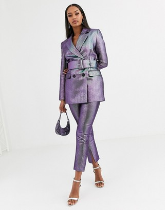 Asos Design DESIGN oilslick metallic slim suit trousers-Multi