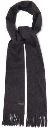 Saint Laurent Fringed Cashmere Scarf - Womens - Grey