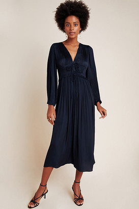 Sidonie Pleated Midi Dress By Current Air in Blue Size XS