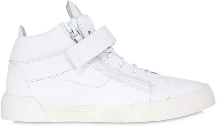 Giuseppe Zanotti Design Rubberized Leather Mid Top Sneakers