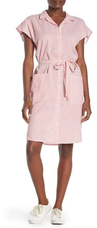 Velvet Stripe Belted Cotton Shirtdress