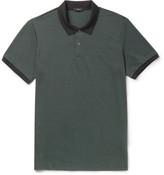 Theory Two-Tone Pima Cotton-Blend Piqué Polo Shirt