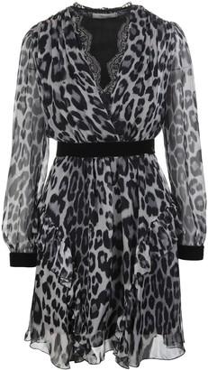 Blumarine Leopard Short Dress With V-neck