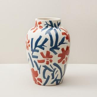 Oui Hand-Painted Brushstroke Floral Vase Large