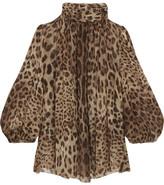 Dolce & Gabbana Leopard-print Silk-chiffon Blouse - Camel