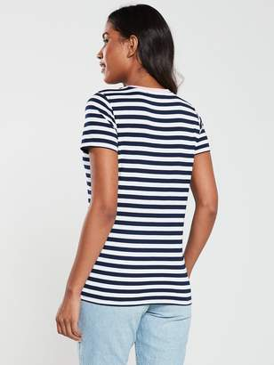 Very Contrast Rib Stripe T-Shirt - Navy