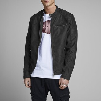 Jack and Jones Jcorocky Biker Bomber Jacket in Faux Leather with Pockets