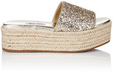 Miu Miu Women's Glitter Espadrille Slides-Gold