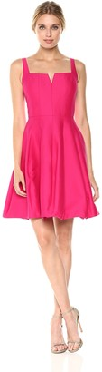 Halston Women's Sleeveless Geometric Neck Silk Faille Dress