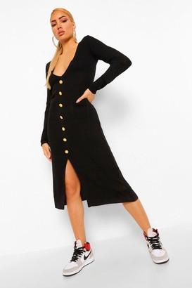 boohoo Rib Knit Button Through Midi Dress