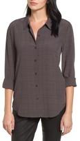 Eileen Fisher Women's Windowpane Classic Collar Shirt