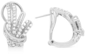 Macy's Wrapped in Love Diamond Fancy Hoop Earrings (1 ct. t.w.) in Sterling Silver, Created for