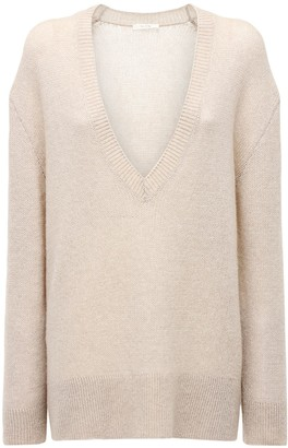 The Row V Neck Cashmere Knit Sweater