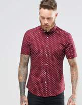 Asos Skinny Fit Shirt With Polka Dot In Burgundy With Short Sleeves