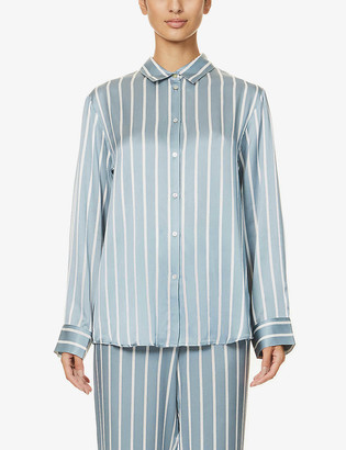 ASCENO London striped silk-satin pyjama top