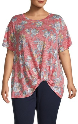 Bobeau Plus Knotted Print Top