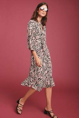 Next Womens Pink Animal Tie Neck Midi Dress - Pink